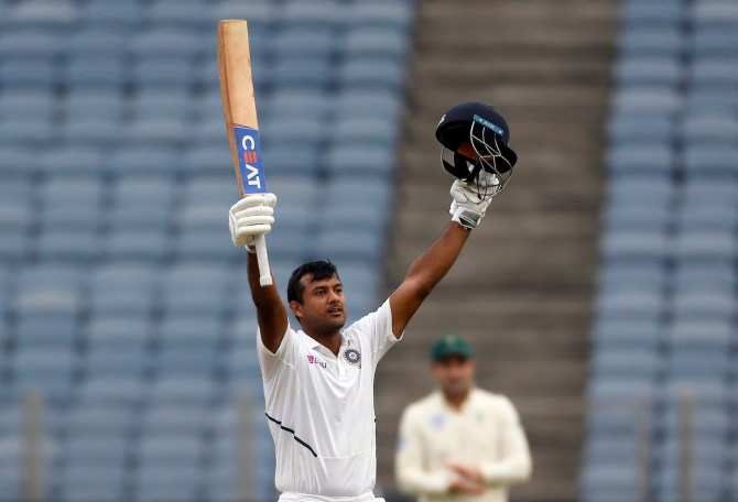 Mayank Agarwal 108 India South Africa 2nd Test Day 1 Pune cricket