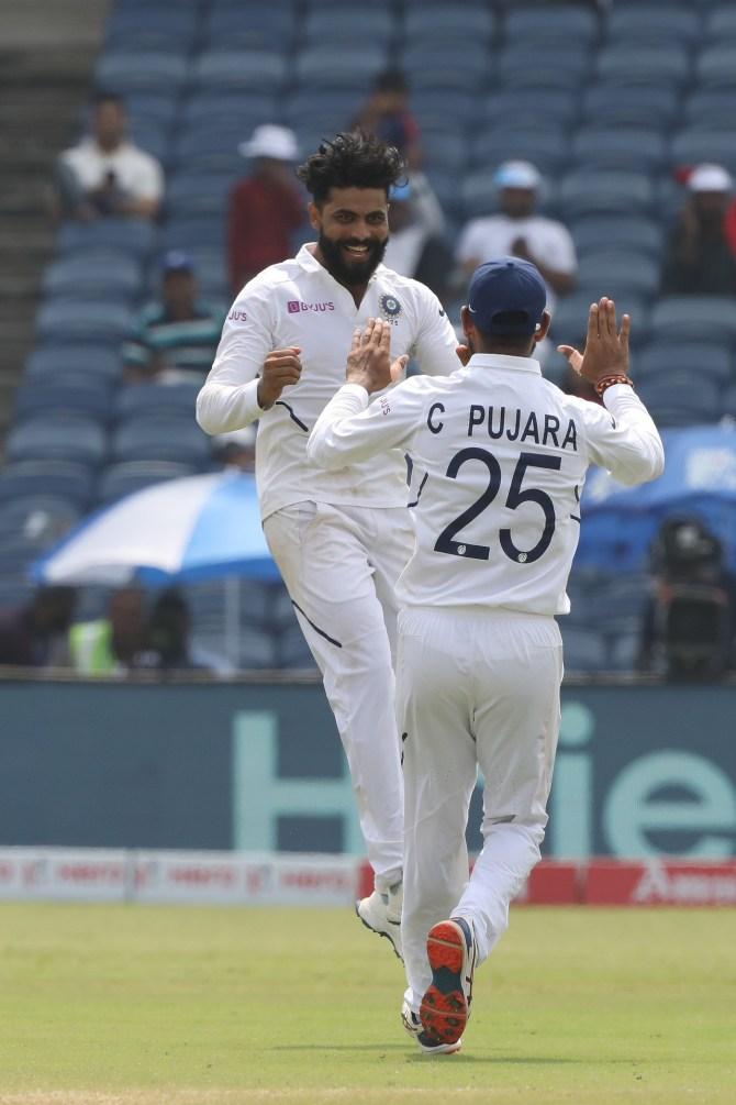 Ravindra Jadeja three wickets India South Africa 2nd Test Day 4 Pune cricket