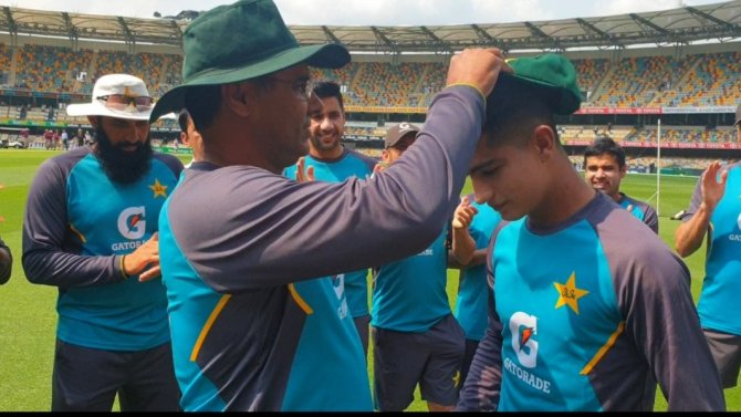 Naseem Shah received his Test cap from Waqar Younis Pakistan cricket