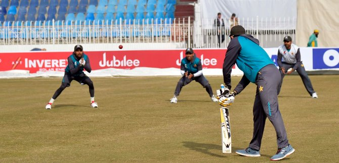 Pakistan held a training session that featured Javed Miandad ahead of the first Test against Sri Lanka in Rawalpindi cricket