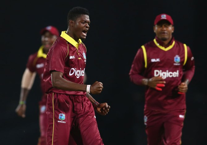 Alzarri Joseph four wickets West Indies Ireland 1st ODI Barbados cricket