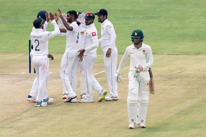 Lasith Embuldeniya five wickets Zimbabwe Sri Lanka 1st Test Day 2 Harare cricket