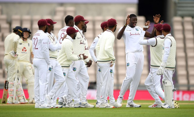 Jason Holder career-best six wickets England West Indies 1st Test Day 2 Southampton cricket
