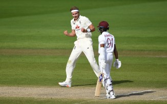 Stuart Broad three wickets England West Indies 2nd Test Day 4 Manchester cricket
