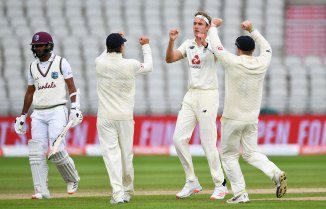 Stuart Broad 62 runs two wickets England West Indies 3rd Test Day 2 Manchester cricket