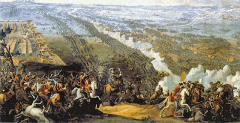 The Battle of Poltava by Denis Martens the Younger painted 1726