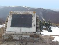 Plaque on the Shipka Pass, note the rugged terrain (Bulgarian Tourist Board)