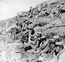 Japanese infantry waiting to go forward