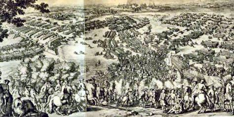 The Battle of Poltava showing the Russian camp and redoubts