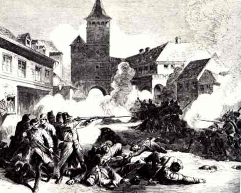 Street fighting in Gitschin.