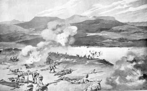 The Dublin Fusiliers Attempt to ford the Tugela River at the Battle of Colenso. (René Bull and Enoch Ward)