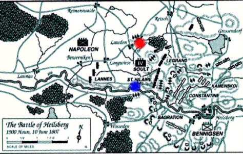 The Red and Blue markers indicate the positions shown on the photographs.