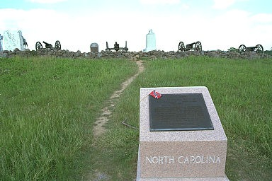 The North Carolina Monument. The cannon along the wall show how close these troops came to the Union line. (Copyright Allen Goodall 2003)