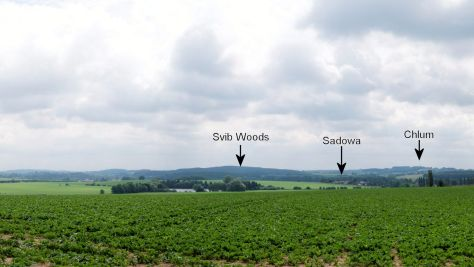 View from high ground near Dub. The land falls towards Sadowa and rises towards Svib woods and Chlum.