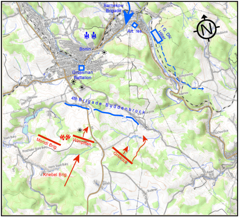 Battle of Trautenau showing locations of panoramas.