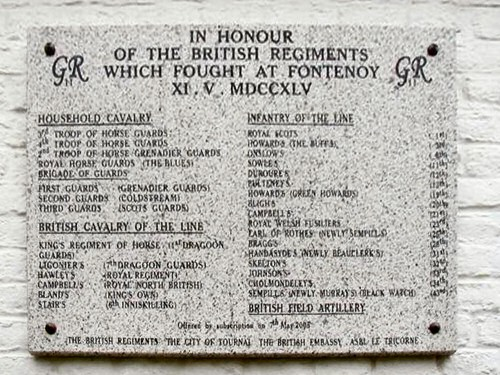 The plaque in its permanent position on Verzon church wall