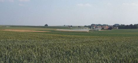 D. Panorama taken from behind the extreme allied left flank showing the ground around Laar. The Little Gheet River flows approximately 600 meters to the left and rear of this picture. (See modern and battlefield maps)
