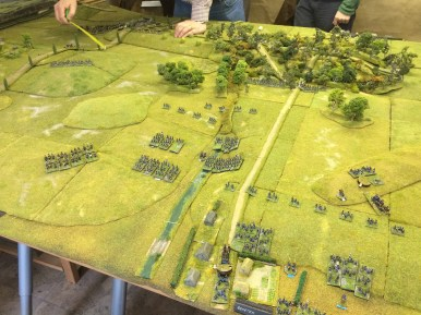 Opening positions: my corps opposite the Swiepwald, climbing the slopes towards the woods whilst the Austrian massed columns and artillery advanced from my left. I didn't realise how exposed I was until the Austrian guns (and rockets!) opened fire. Photo Henry Hyde 2015.