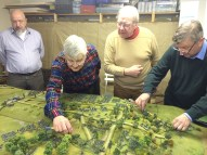 Chris Atkin (left) looks on as DZ attempts to disentangle the messy combat in the Swiepwald. Charles Grant checks that he won't lose his hard-won advantage! Meanwhile Andrew checks ranges between the Prussian flanking force and Austrian infantry. Photo Henry Hyde 2015.