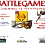 The first battlegames site splash page, first launched June 18th 1998.