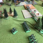 A shot of the situation around that wood in the south. Line infantry have their flank resting on the wood, infested with defiant light infantry. But will they hold?