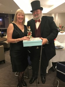 "The 'Dandy"" award went to the magnificently attired John Dance, seen here with Karen Freeth and his priceless trophy (with added moustache...)"