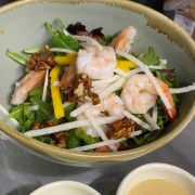 Jicama Mexican salad with shrimp served at The Battleground Kent Ohio