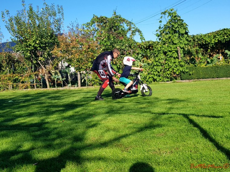 BattleKid setting off on the motorbike