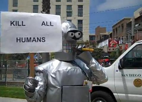 Sarcasm much? A man in costume mocks the Westboro Baptish Church by protesting outside the Comic-Con International conference in San Diego last week. (YouTube screen grab)