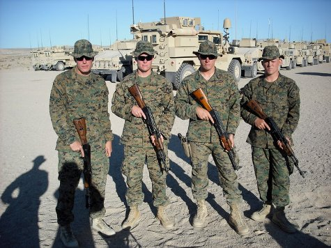 Cpl. Dakota Meyer, third from right, charged into a kill zone to save his buddies in Ganjgal, Afghanistan, including (from left to right) Staff Sgt. Aaron Kenefick, 1st Lt. Michael Johnson and Hospital Corpsman 3rd Class James Layton. Meyer found all three of them dead, along with Gunnery Sgt. Edwin Johnson and an Afghan soldier. (Photo courtesy Brent Layton)