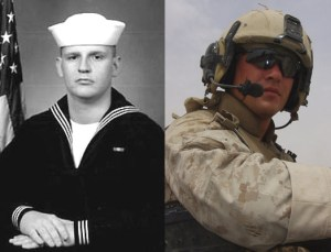 Navy Hospitalman Benjamin Rast, left, and Marine Staff Sgt. Jeremy Smith were reportedly killed in April by an errant Hellfire missile. (AP Photo)