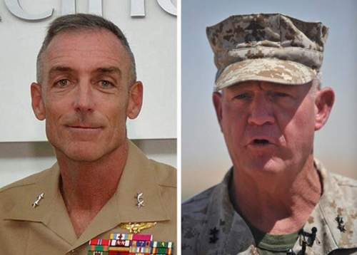 Maj. Gen. Gregg Sturdevanht, left, and Maj. Gen. Charles Gurganus were asked to retire in the wake of last year's deadly attack on Camp Bastion, Afghanistan.