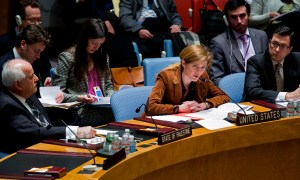 The U.S. Ambassador to the U.N. Samantha Power addresses the Security Council in January on the situation in Syria and the Middle East. Powers told NPR Friday that the U.S. can't rush from no action in Syria to sending in Marines. (AP Photo/Craig Ruttle)