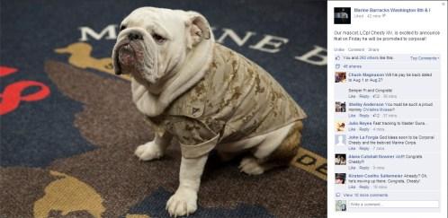 Screenshot from Marine Barracks Washington 8th & I Facebook page