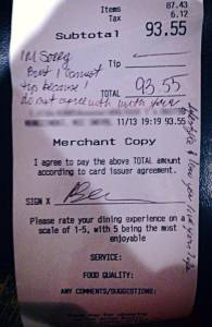 Former Lance Cpl. Dayna Morales, a restaurant server, posted a copy of this receipt to Facebook. She said the customer wouldn't tip her because she was gay, but a new report from NBC calls her claim into question.  (Facebook)