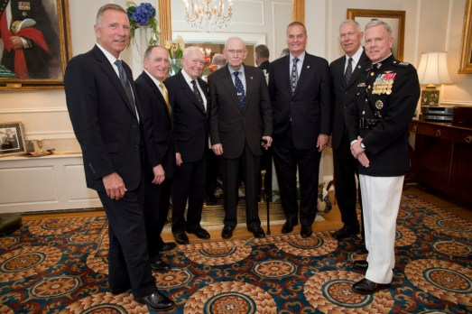 In April, Marine Corps Commandant Gen. Jim Amos (far right) hosted a memorial service in Washington for the late Gen. Carl Mundy, the 30th CMC. Pictured with Amos from left to right are the previous commandants: the 33rd CMC, Gen. Michael Hagee, the 31st CMC, Gen. Charles Krulak, the 29th CMC, Gen. Al Gray, the 28th CMC, Gen. P.X. Kelley, the 32nd CMC, Gen. Jim Jones, and the 34th CMC, Gen. James  Conway. (Photo by Sgt. Mallory S. VanderSchans/Marine Corps)