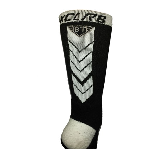 The Battle Tek Athletics XCLR8 Black and White Performance Socks Back View