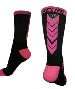 The Battle Tek Athletics XCLR8 Black and Pink Performance Socks offer Moisture Control, Impact Absorbency and Great Style – Back and Side Views