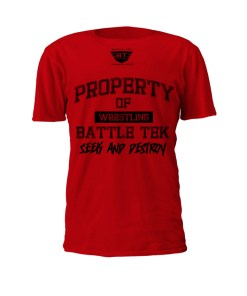 Red Property Of Battle Tek Lightweight 100% Micro Mesh Polyester Performance Tee - Front View Makes The Statement: Seek And Destroy