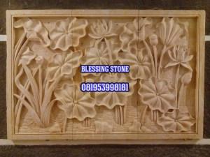 Batu Paras Relief Motif Bunga Lotus 4