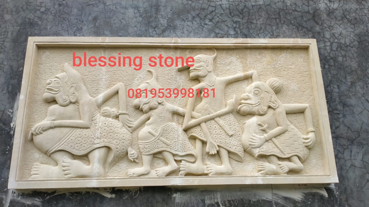 Batu Ukir Paras Relief Motif Punokawan