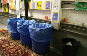 Recycling bins in the trash room