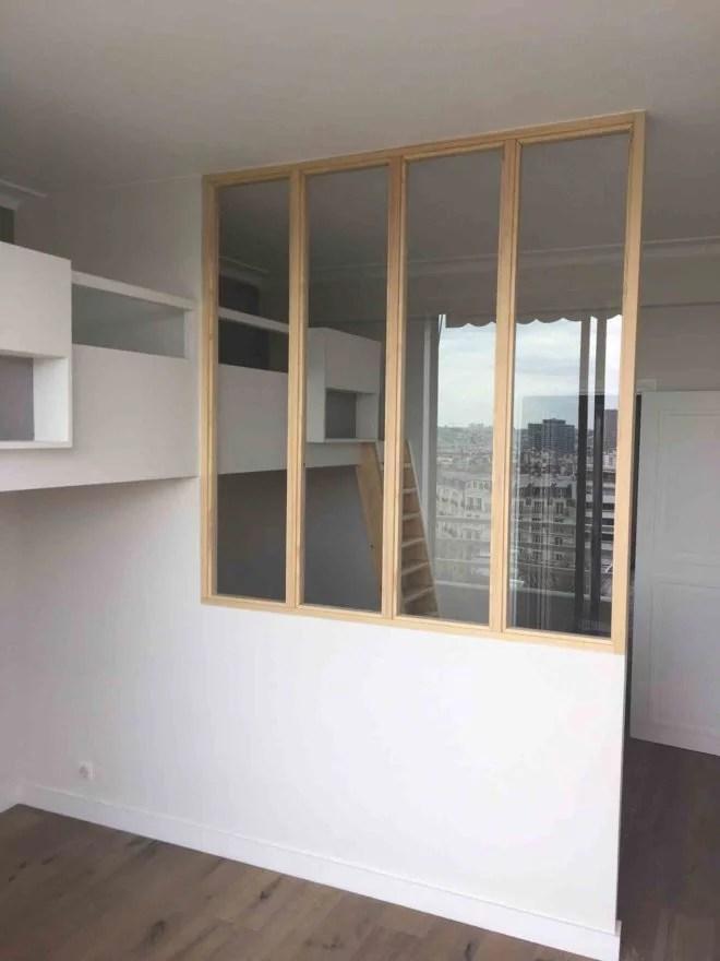 aménagement intérieur verrière style atelier artiste bois artisan paris