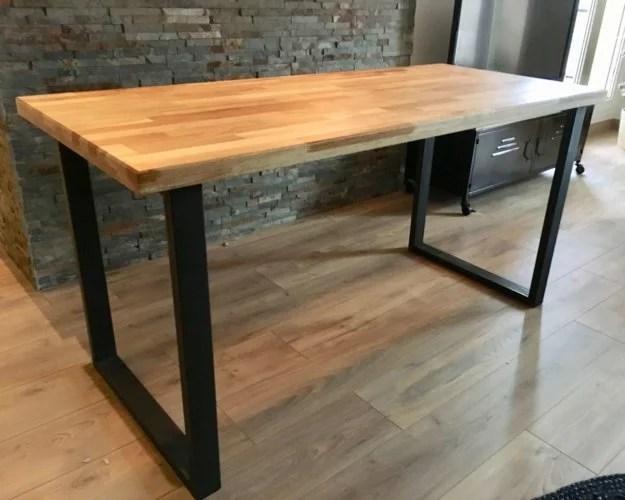 table bois et pieds metal sur mesure artisan 91