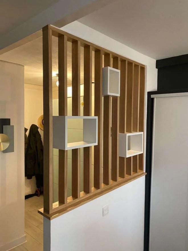 claustra avec niche bois et blanc claustra vertical