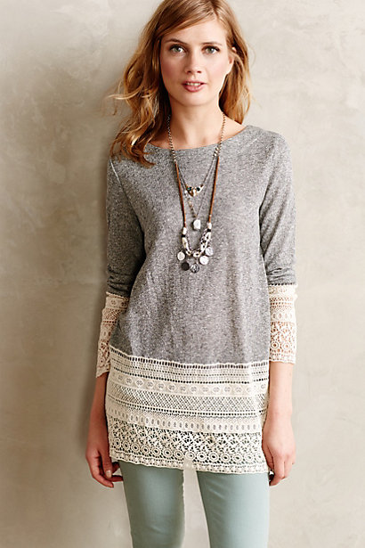 Recessed Lace Sweater | Anthropologie