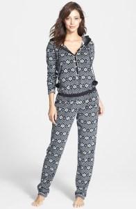 Kensie via Nordstrom | Print Fleece Hooded Jumpsuit | Click here to shop