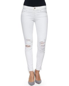 J. Brand Distressed White Jeans on Sale