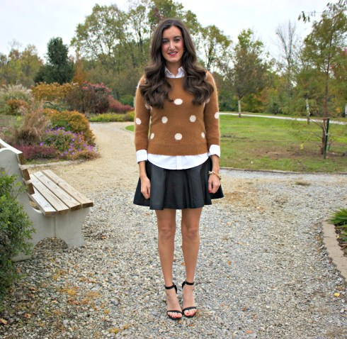 Polka Dot Sweater and Leather Skirt