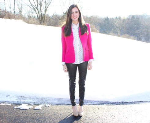 Leather Pants Pink Blazer